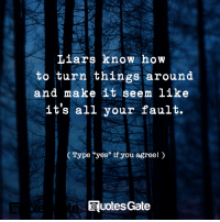 "How To, Quotes, and How: Liars know how  to turn things around  and make it seem like  it's all your fault.  Type ""yes"" if you agreel  Quotes Gate"