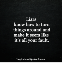 Memes, How To, and Quotes: Liars  know how to turn  things around and  make it seem like  it's all your fault.  Inspirational Quotes Journal <3