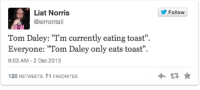 "Toast, Tom Daley, and Daley: Liat Norris  @sirrontail  Follow  Tom Daley: ""I'm currently eating toast"",  Everyone: Tom Daley only eats toast""  8:03 AM -2 Dec 2013  120 RETWEETS 71 FAVORITES"
