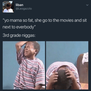 "Movies, Yo, and Fat: liban  @Leogazzlo  ""yo mama so fat, she go to the movies and sit  next to everbody""  3rd grade niggas I feel your pain buddy"