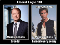 (GB): Liberal Logic 101  CEO  Hollywood star  Makes millions  Hreedy  Makes millions  Earned every penny (GB)