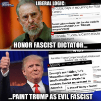 Anti Liberal Memes: LIBERAL LOGIC:  LOUDER  CROWDER  In Cuba, days of mourning for Fidel  Castro  DAILY NEWS NEWS  Former Cuban castaway Elian Gonzalez recalls his  connection with Fidel Castro: 'Fidel was  everyone's friend'  O Canada: Trudeau's Castro tribute  raises eyebrows  HONOR FASCIST DICTATOR  THE WRAT  MEDIA  Are Hitler-Trump Comparisons Fair? A Holocaust  Survivor Tells Son  ALON  not Hitler, he's  Mussolini: How GOP anti  intellectualism created a  modern fascist movement in  Is Donald Trump a Fascist?  America  elanofclassical fascism, but  Fascism is about the most  power lacks the revolutionary  stil fr  historian explains why  his movement American  for PAINT TRUMP AS EVIL FASCIST