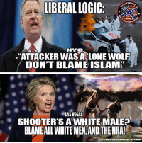 """They are so far to the left now they have became self hating racist #LiberalScum: LIBERAL LOGIC:  ONECK NA  NYC  """"ATTACKER WAS A LONE WOLF  DON'T BLAME ISLAM  LAS VEGAS  SHOOTER'S A WHITE MALE?  BLAMEALL WHITE MEN AND THENRA!  rednecknationgearcom They are so far to the left now they have became self hating racist #LiberalScum"""