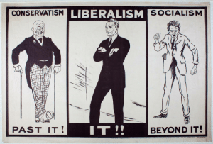 Bernie Sanders, History, and Socialism: LIBERALISM  CONSERVATISM  SOCIALISM  PAST IT  BEYOND IT! 1924, an angry, young Bernie Sanders (far right) chastises the bourgeoisie.