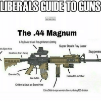 America, Guns, and Memes: LIBERALS GUIDE TO GUNS  The .44 Magnum  X-Ray Device to Look Through Women's Clothing  Super Death Ray Laser  ells Eject Here  Black Penis (That's Racis  /Black Penis (That's Racis)  Suppress  Extended Cip  Grenade Launcher  Gun Button  Children's Souls are Stored Here  Extra Dido to rape women after murdering 150 chldren Super death ray laser . . . Conservative America SupportOurTroops American Gun Constitution Politics TrumpTrain President Jobs Capitalism Military MikePence TeaParty Republican Mattis TrumpPence Guns AmericaFirst USA Political DonaldTrump Freedom Liberty Veteran Patriot Prolife Government PresidentTrump Partners @conservative_panda @reasonoveremotion @conservative.american @too_savage_for_democrats @conservative.nation1776 -------------------- Contact me ●Email- RaisedRightAlwaysRight@gmail.com ●KIK- @Raised_Right_ ●Send me letters! Raised Right, 5753 Hwy 85 North, 2486 Crestview, Fl 32536
