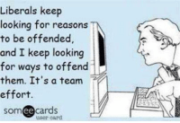 Memes, Someecards, and 🤖: Liberals keep  looking for reasons  to be offended  and I keep looking  for ways to offend  them. It's a team  effort.  someecards  user card Ha!