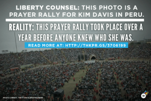think-progress:  think-progress:  think-progress:  No, 100,000 People Did Not Gather In Peru To Support Kim Davis. Here's Proof.  Update: Liberty Counsel has redacted its own press release   Update: Original source of the photo  : LIBERTY COUNSEL: THIS PHOTO IS A  PRAYER RALLY FOR KIM DAVIS IN PERU.  REALITY: THIS PRAYER RALLY TOOK PLACE OVER A  YEAR BEFORE ANYONE KNEW WHO SHE WAS.  READ MORE AT: HTTP://THKPR.GS/3706199  TP  PHOTO CREDIT: TWITTER/@JMATTBARBER think-progress:  think-progress:  think-progress:  No, 100,000 People Did Not Gather In Peru To Support Kim Davis. Here's Proof.  Update: Liberty Counsel has redacted its own press release   Update: Original source of the photo