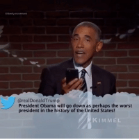 Memes, Obama, and The Worst: @liberty.movement  @realDonaldTrump  President Obama will go down as perhaps the worst  president in the history of the United States!  KIMMEL Let's never forget this Gem! 😂 I will show this to my kids one day, and they will show this to their kids and their grandkids and it will forever go down as the biggest L Obummer took in History! 🇺🇸