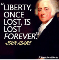 Memes, Lost, and Forever: LIBERTY  ONCE  LOST, IS  LOST  FOREVER  FreedomWorks Some people don't realize this