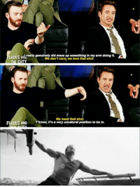 When RDJ is all of us. :P ~ Cap's Best Girl ☆☆: LiCKS really genuinely did mess up something in my arm doing it.  ARU  We don't care, we love that sho  We need that shot.  FLICKS AND know it's a very unnatural Position to be in. When RDJ is all of us. :P ~ Cap's Best Girl ☆☆