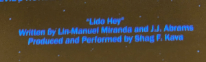 "https://t.co/lAXerMcefi: ""Lide Hey""  Written by Lin-Manuel Miranda and J.J. Abrams  Preduced and Perfermed by Shag F. Kava https://t.co/lAXerMcefi"