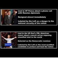 America, Fbi, and Memes: Lied to VP Pence about a phone call  with Russian diplomats  Resigned almost immediately  Labeled by the Left as a danger to the  national security of the nation  Lied to the US Gov't, FBI, American  voters about a secret server exposing  classified intel to the world  Selected as the Democratic nominee  Labeled by the Left as the most qualified  candidate to protect and lead the nation Funny how it works... 🔴www.TooSavageForDemocrats.com🔴 JOINT INSTAGRAM: @rightwingsavages Partners: 🇺🇸👍: @The_Typical_Liberal 🇺🇸💪@theunapologeticpatriot 🇺🇸 @DylansDailyShow 🇺🇸 @keepamerica.usa 🇺🇸@Raised_Right_ 🇺🇸@conservative.female 😈 @too_savage_for_liberals 💪 @RightWingRoast 🇺🇸 @Conservative.American 🇺🇸 @Trumpmemz DonaldTrump Trump HillaryClinton MakeAmericaGreatAgain Conservative Republican Liberal Democrat Ccw247 MAGA Politics LiberalLogic Savage TooSavageForDemocrats Instagram Merica America PresidentTrump Funny True sotrue