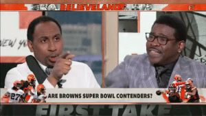 Tennessee fans and Florida State fans, arguing who embarrassed themselves more in Week 1 https://t.co/xcKvbMQtRb: LIEVELAND  EW YO  27  ARE BROWNS SUPER BOWL CONTENDERS?  R  GIRST TTAKE Tennessee fans and Florida State fans, arguing who embarrassed themselves more in Week 1 https://t.co/xcKvbMQtRb