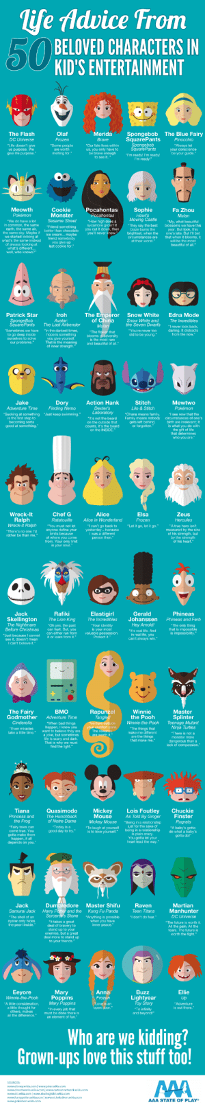 """Thank you AAA for this nice infographic. Have a good day ppl.: life Advice From  50 BELOVED CHARACTERS IN  KID'S ENTERTAINMENT  Spongebob  SquarePants  Spongebob  SquarePants  The Blue Fairy  The Flash  Olaf  Merida  DC Universe  Frozen  Brave  Pinocchio  """"Life doesn't give  us purpose. We  give life purpose.""""  """"Some people  """"Our fate lives within  """"Always let  your conscience  be your guide.""""  us, you only have to  be brave enough  to see it.  are worth  melting for.""""  """"I'm ready! I'm ready!  I'm ready!""""  Meowth  Cookie  Monster  Pocahontas  Sophie  Fa Zhou  Pokemon  Pocahontas  Howl's  Moving Castle  Mulan  Sesame Street  """"We do have a lot  in common,  earth, the same air,  the same sky. Maybe if  we started looking at  what's the same instead  """"How high does a  sycamore grow? If  you cut it down, then  you'll never know.""""  """"My, what beautiful  blossoms we have this  year. But look, this  one's late. But I'll bet  that when it blooms, it  will be the most  beautiful of all.""""  """"They say the best  blaze burns the  brightest, when the  circumstances are  at their worst.""""  same  """"Friend something  better than chocolate  ice cream... maybe  friend somebody  you give up  last cookie for.""""  of always looking at  what's different.  well, who knows?""""  The Emperor  of China  Edna Mode  Patrick Star  Iroh  Snow White  Snow White and  the Seven Dwarfs  SpongeBob  SquarePants  Avatar:  The Last Airbender  The Incredibles  Mulan  """"I never look back,  darling. It distracts  from the now.""""  """"Sometimes we have  """"In the darkest times,  """"You're never too  """"The flower that  blooms in advers ity  is the most rare  and beautiful of all.""""  to go deep inside  ourselves to solve  old to be young.""""  hope is something  you give yourself.  That is the meaning  of inner strength.""""  our problems.""""  Jake  Dory  Finding Nemo  Action Hank  Stitch  Mewtwo  Adventure Time  Dexter's  Laboratory  Lilo & Stitch  Pokémon  """"Ohana means family.  """"Sucking at something  is the first step to  becoming sorta"""