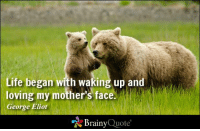 Life began with waking up and loving my mother's face. - George Eliot http://www.brainyquote.com/quotes/authors/g/george_eliot.html #HappyMothersDay: Life began with waking up and  loving my mother's face.  George Eliot  Brainy  Quote Life began with waking up and loving my mother's face. - George Eliot http://www.brainyquote.com/quotes/authors/g/george_eliot.html #HappyMothersDay