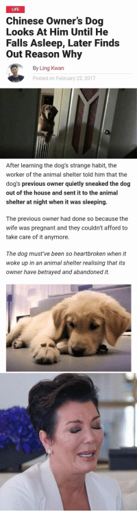 RT @damnhappyyy:: LIFE  Chinese owner's Dog  Looks At Him Until He  Falls Asleep, Later Finds  out Reason why  By Ling Kwan  Posted on February 22, 2017   After learning the dog's strange habit, the  worker of the animal shelter told him that the  dog's previous owner quietly sneaked the dog  out of the house and sent it to the animal  shelter at night when it was sleeping.  The previous owner had done so because the  wife was pregnant and they couldn't afford to  take care of it anymore.  The dog must've been so heartbroken when it  woke up in an animal shelter realising that its  owner have betrayed and abandoned it. RT @damnhappyyy: