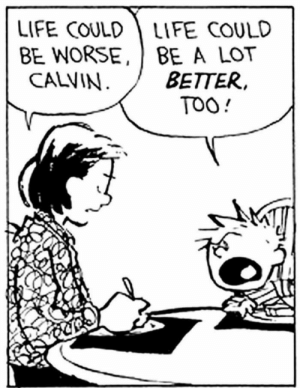 Life, Politics, and Target: LIFE COULD LIFE COULD  BE WORSE, BE A LOT  BETTER,  TOO!  CALVIN comcastkills: my politics