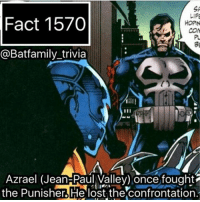 Batman, Friday, and Life: LIFE  Fact 1570  HOPN  COM  @Batfamily trivia  Azrael (Jean-Paul Valley) once fought  the punisher lost the confrontation The real Batman could.. oh shoot Im going to stay another fan war 🙄🙄🙄. Anyway, GOTG comes out on Friday. I really hope I like it more than the first one, I really do. azreal punisher batman batman75 dccomics DCEU