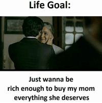 Lifes Goals: Life Goal:  Just wanna be  rich enough to buy my mom  everything she deserves