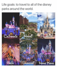 Lifes Goals: Life goals: to travel to all of the disney  parks around the world.  A Ali  LIFORNIA  SHANGHAf NG KONG  ARIS
