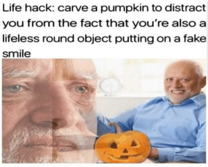 Fake, Halloween, and Life: Life hack: carve a pumpkin to distract  you from the fact that you're also a  lifeless round object putting on a fake  smile Anyways happy Halloween