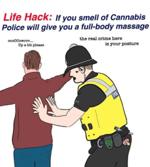 Crime, Life, and Massage: Life Hack: If you smell of Cannabis  Police will give you a full-body massage  ooo00owrrr....  the real crime here  Up a bit please  is your posture  POL  LICE  THIRST  AID
