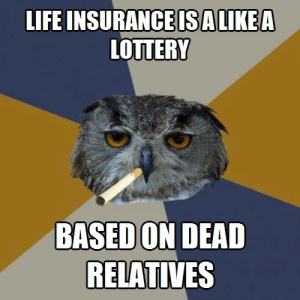 Life, Lottery, and Tumblr: LIFE INSURANCE  ISALIKEA  LOTTERY  BASED ON DEAD  RELATIVES life-insurancequote:  Listen to Harold the Hooter and get life insurance for some reason. http://YourLifeSolution.com