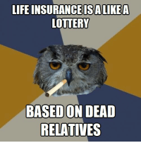 """Life, Lottery, and Tumblr: LIFE INSURANCEISALIKEA  LOTTERY  BASED ON DEAD  RELATIVES <p><a class=""""tumblr_blog"""" href=""""http://life-insurancequote.tumblr.com/post/150375399760"""">life-insurancequote</a>:</p> <blockquote> <p>Listen to Harold the Hooter and get life insurance for some reason. <a href=""""http://YourLifeSolution.com"""">http://YourLifeSolution.com</a><br/></p> </blockquote>"""