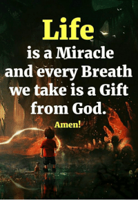 <3: Life  is a Miracle  and every Breath  we take is a Gift  from God.  Amen! <3