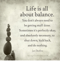Life Is All About Balance.: Life is all  about balance.  You don't always need to  be getting stuff done.  Sometimes it's perfectly okay,  and absolutely necessary, to  shut down, kick back,  and do nothing.  Coni Desche  tiny b und d h a c o m Life Is All About Balance.