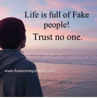 Wonderful Quotes: Life is full of Fake  people!  Trust no one  www.Awesomequotes4u.com Wonderful Quotes