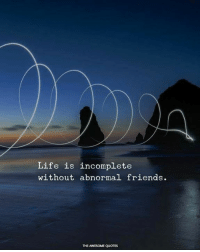 Friends, Life, and Quotes: Life is incomplete  without abnormal friends.  THE AWESOME QUOTES Mention Them ❤