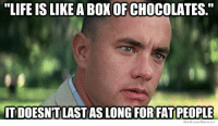 """Life is...: """"LIFE IS LIKE A BOXOFCHOCOLATES  ITDOESNTILASTASLONG FOR FAT PEOPLE  We Know Memes Life is..."""
