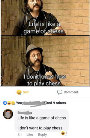 me irl: Life is like a  gamelof chess  dont know how  to play chess  Sad  Comment  You  and 9 others  Life is like a game of chess  I don't want to play chess  3  Reply  8h  Like me irl