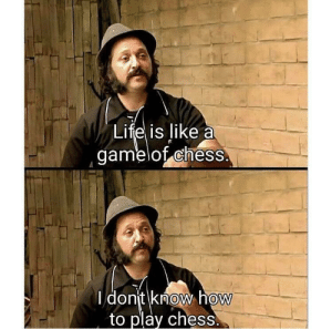 Life, Chess, and How To: Life is like a  gamelof chess  I dont know hoW  to play chess.  0  0 My life summed up