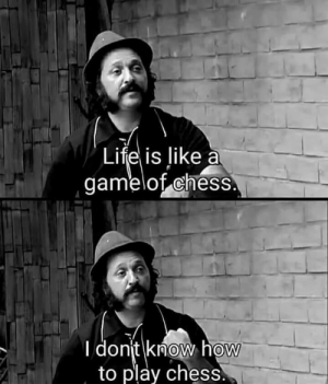 Life, Chess, and How To: Life is like a  gamelot chess  donjt know how  to play chess  0