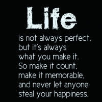 Memes, 🤖, and Soulmate: Life  is not always perfect  but it's always  what you make it  So make it count,  make it memorable.  and never let anyone  steal your happiness Tag friends Check out all of my prior posts⤵🔝 Positiveresult positive positivequotes positivity life motivation motivational love lovequotes relationship lover hug heart quotes positivequote positivevibes kiss king soulmate girl boy friendship dream adore inspire inspiration couplegoals