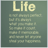 Life, Memes, and Happiness: Life  is not always perfect  but it's always  what you make it  So make it count,  make it memorable  and never let anyone  steal your happiness