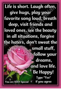 """Friends, Life, and Love: Life is short. Laugh often,  give hugs, play your  favorite song loud breath  deep, visit friends and  loved ones, see the beauty  in all situations, forgive  the haters, don't sweat the  small stuff,  follow your  dreams  and love life.  Be Happy  Type """"Yes""""  You are VERY Special if you agree You Are Very Special"""