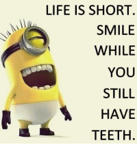 Teething: LIFE IS SHORT  SMILE  WHILE  YOU  STILL  HAVE  TEETH