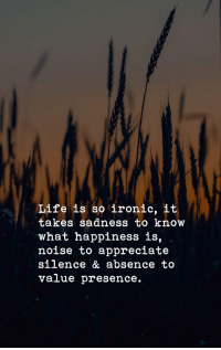 Ironic, Life, and Memes: Life is so ironic, it  takes sadness to know  what happiness is,  noise to appreciate  silence & absence to  value presence. Life is so ironic, https://t.co/Nvrlrj1E9l
