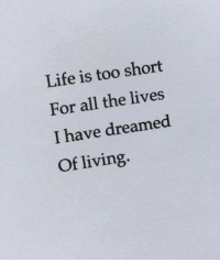 Life, Living, and Too Short: Life is too short  For all the lives  I have dreamed  Of living