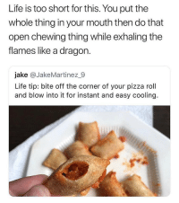 Advice, Life, and Memes: Life is too short for this. You put the  whole thing in your mouth then do that  open chewing thing while exhaling the  flames like a dragon  jake @JakeMartinez_9  Life tip: bite off the corner of your pizza roll  and blow into it for instant and easy cooling. Life advice 😂