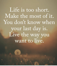life is too short: Life is too short.  Make the most of it.  You don't know when  your last day is.  Live the way you  want to live.