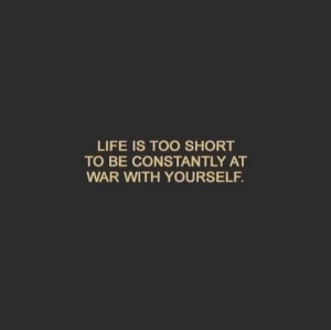 Life, Too Short, and War: LIFE IS TOO SHORT  TO BE CONSTANTLY AT  WAR WITH YOURSELF.