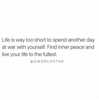 "Life, Appreciate, and Live: Life is way too short to spend another day  at war with yourself. Find inner peace and  live your life to the fullest.  @QWORLDSTAR ""Learn to appreciate your life..."" 🙌🙏 @QWorldstar https://t.co/Ff3wgw1H1v"