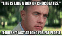 "fat people: ""LIFE ISLIKEA BOX OF CHOCOLATES.""  ITDOESNTLASTIASLONG FOR FAT PEOPLE"