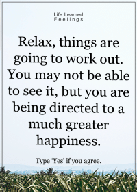 <3: Life Learned  F e e l i n g S  Relax, things are  going to work out.  You may not be able  to see it, but you are  being directed to a  much greater  happiness  Type 'Yes' if you agree. <3