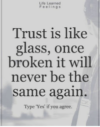 Yes: Life Learned  F e e l i n g s  Trust is like  glass, once  broken it will  never be the  same again  Type 'Yes' if you agree. Yes