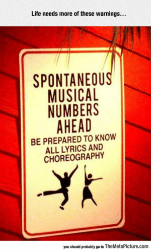 Life, Tumblr, and Blog: Life needs more of these warnings...  SPONTANEOU  MUSICAL  NUMBERS  AHEAD  BE PREPARED TO KNOW  ALL LYRICS AND  CHOREOGRAPHY  you should probably go to TheMetaPicture.com srsfunny:More Of These Warnings